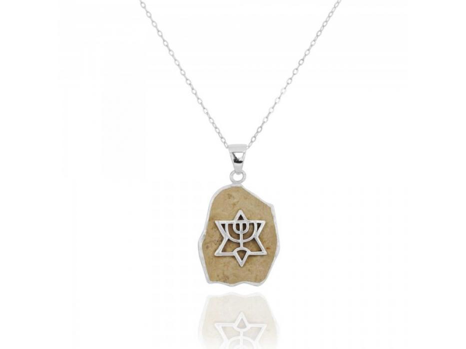 Star of David and Menorah Necklace with Jerusalem Stone