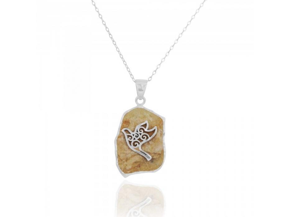 Sterling Silver Dove Necklace with Jerusalem Stone