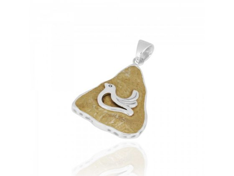 Sterling Silver Dove Necklace with Triangle Jerusalem Stone