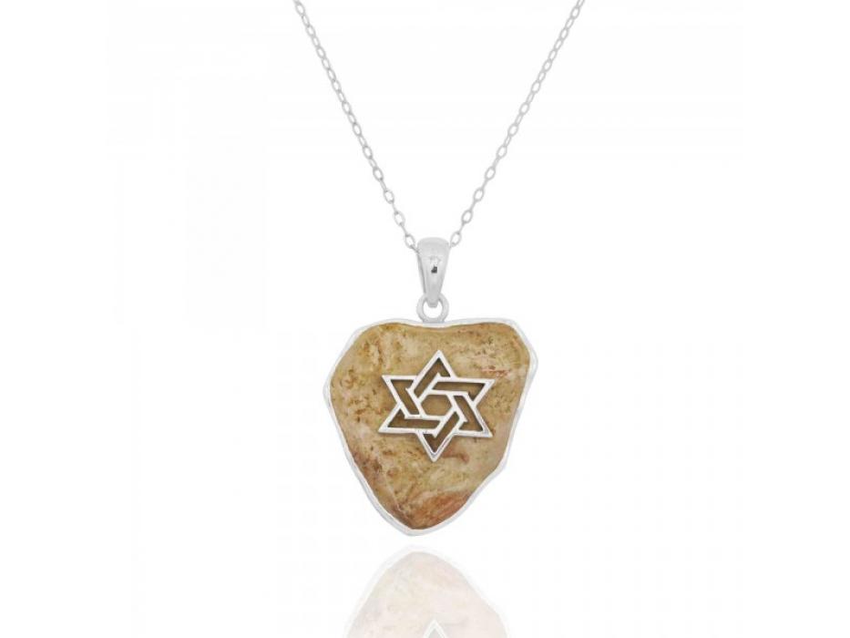 Silver Star of David Necklace with Jerusalem Stone
