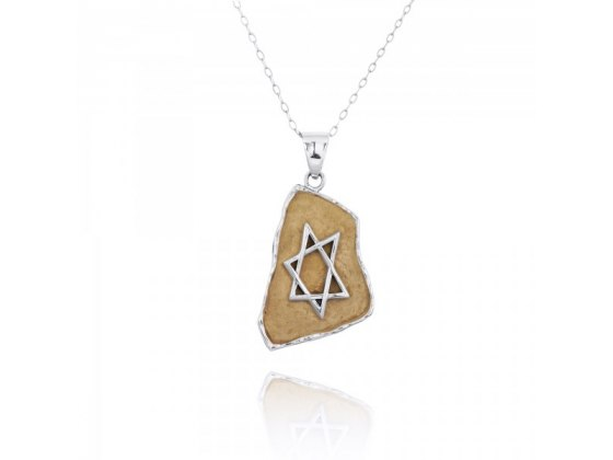 Star of David Necklace made of Silver and Jerusalem Stone