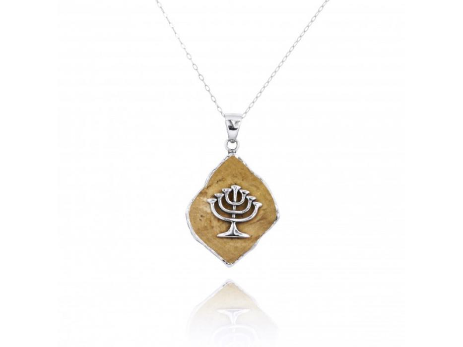 Menorah Necklace Silver and Jerusalem Stone