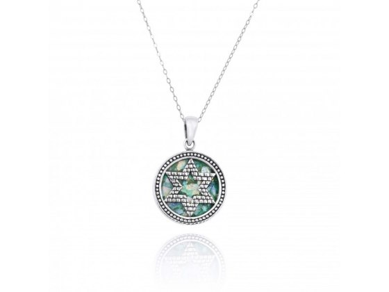 Star of David Necklace Silver and Roman Glass Walls of Jerusalem Design