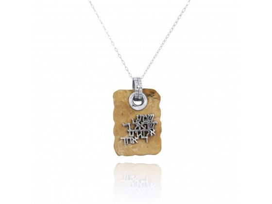 "Square Jerusalem Stone Necklace and Silver ""Hear O Israel"""