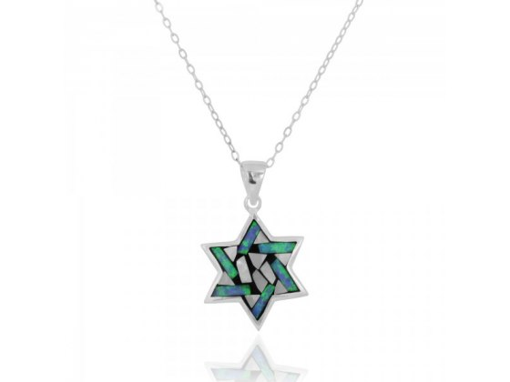 Rainbow Colors Star of David Necklace, Silver & Opal