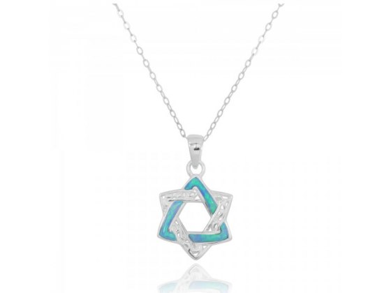A Two-Tone Star of David Necklace, Silver & Opal