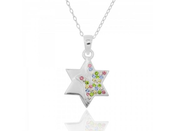 Silver Star of David Necklace with Crystals Dove