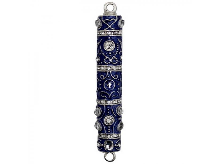 Intricate Blue Marble Enamel Mezuzah Case Set with Stones