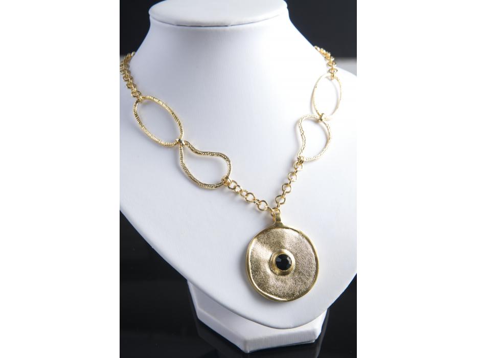 Israeli-Designed Gold Disc Pendant Necklace with Swarovski Crystal