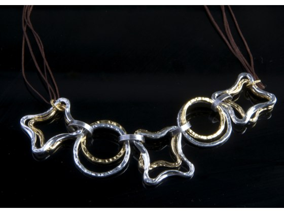Israeli-Made Gold & Silver Plated Bangle Necklace - Anava Jewelry