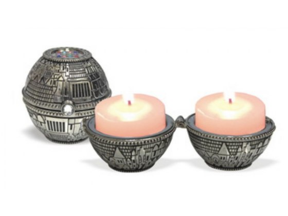 Jerusalem and Choshen Silver Plated Travel Candlesticks