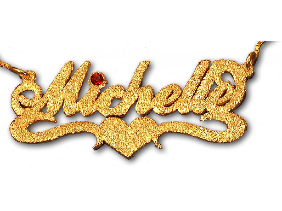 Jerusalem Gold Name Necklace with Birthstone