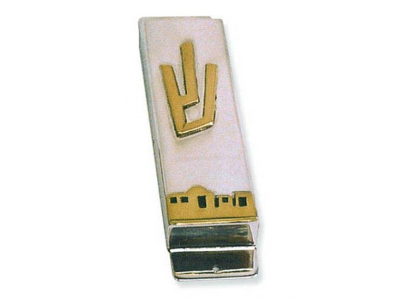 Jerusalem of Gold Panorama Mezuzah Case with Letter Shin in Brass