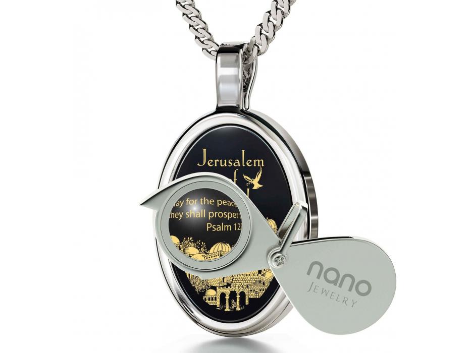 Jerusalem Of Gold Necklace Onyx and Silver Frame