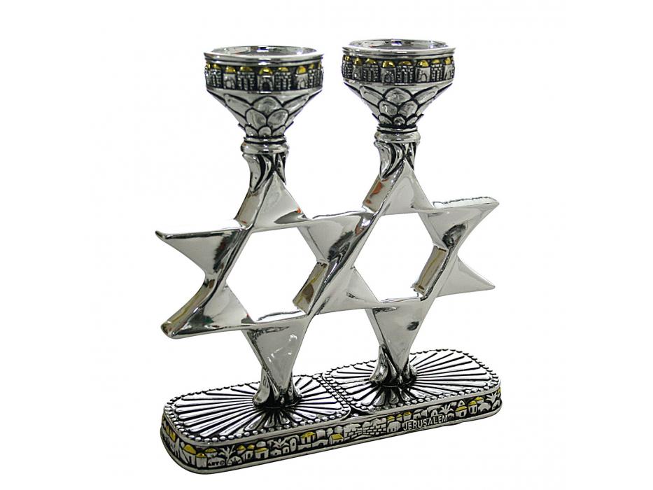 Jerusalem  with Gold Domes Star of David Candlesticks
