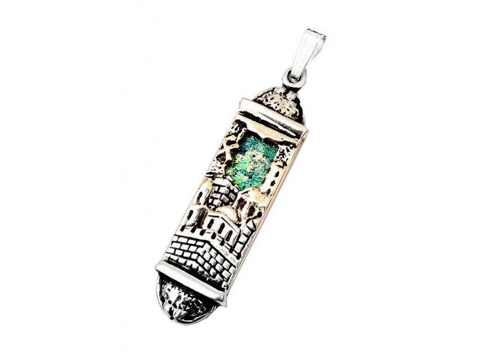 Jerusalem Silver and Roman Glass Mezuzah Necklace