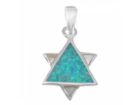 Just Right for Any Occasion Star of David Necklace, Silver & Opal