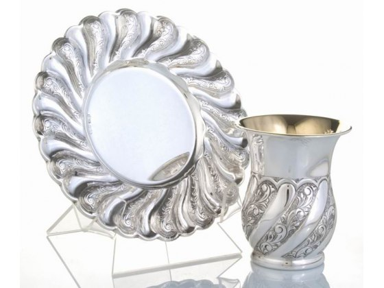 Sterling Silver Kiddush Cup & Saucer - Toscana Panel Swirls, Curved Cup