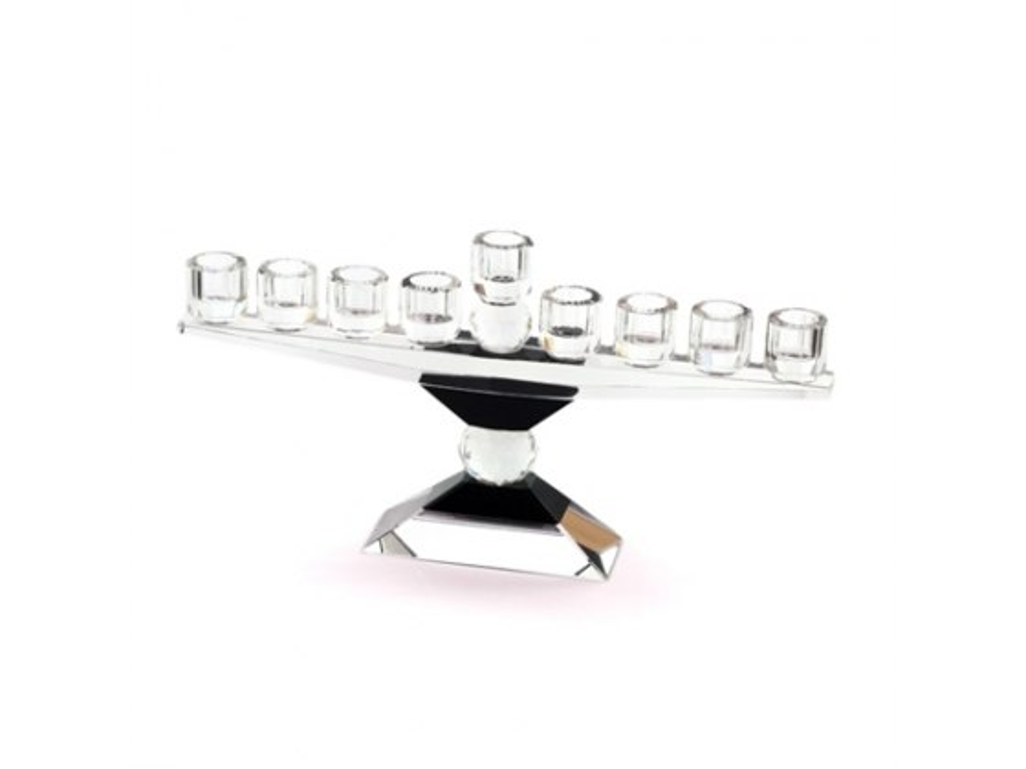 Large Hanukkah Menorah of Faceted Black Crystal