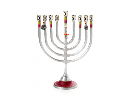Large Hanukkah Menorah with Red Rainbows and Charms