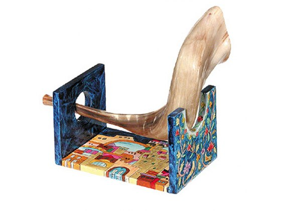 Painted wood Shofar Stand