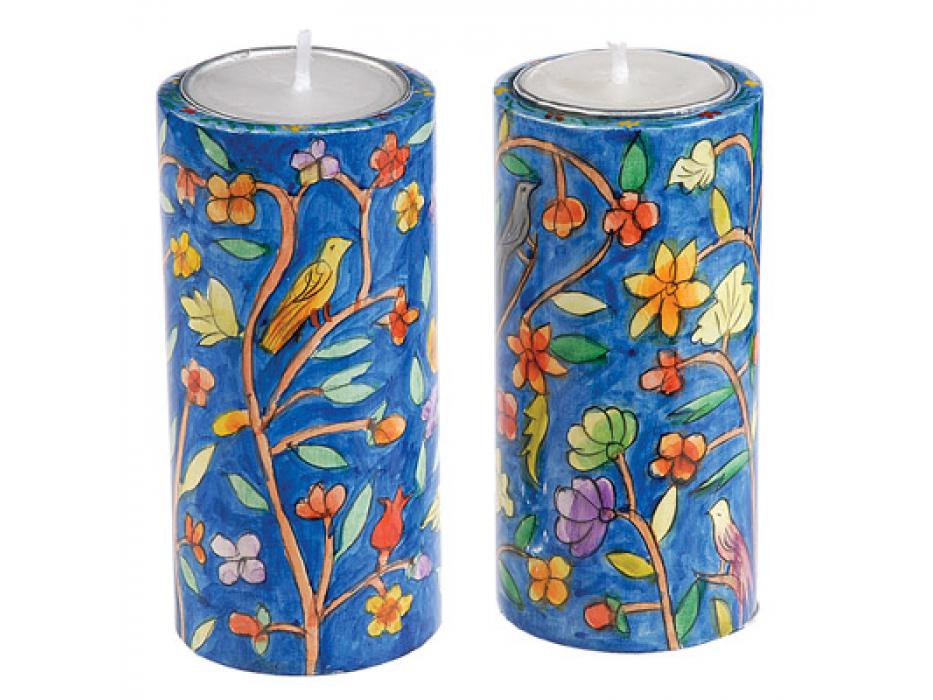 Large Yair Emanuel Round Candlesticks Oriental Flowers