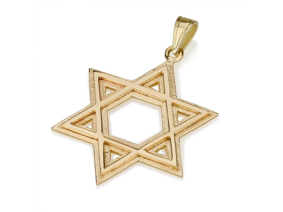Layered Star of David 14K Gold Pendant