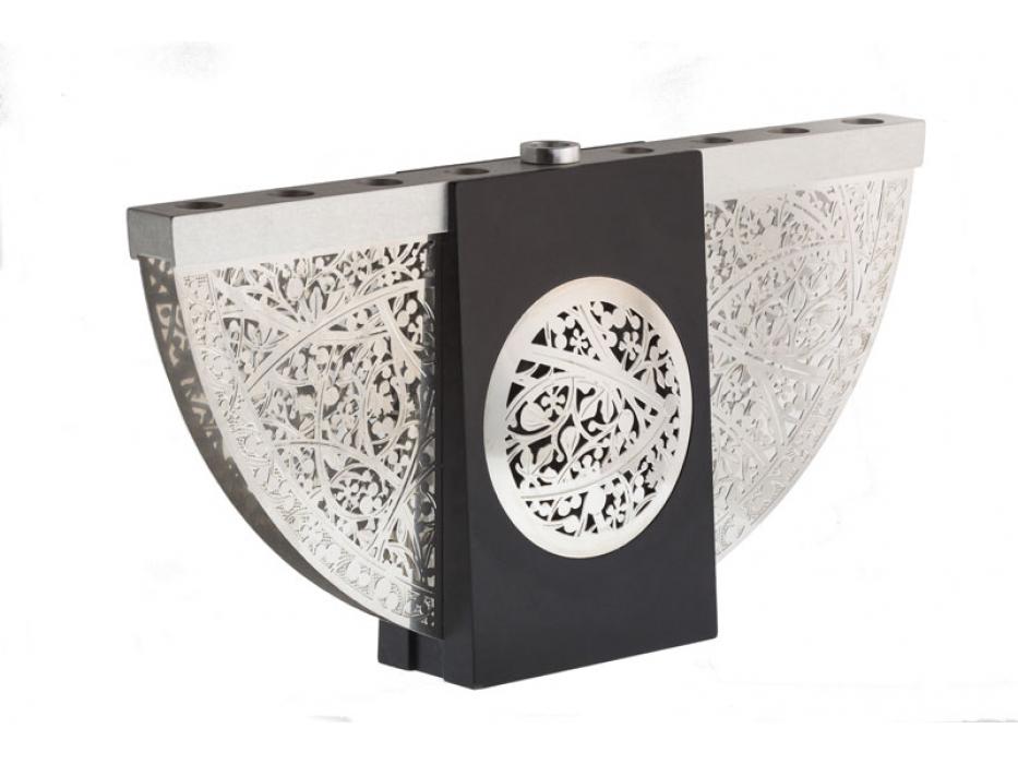 Lev Shneiderman Aluminum Intricate Cutout Black Hanukkah Menorah