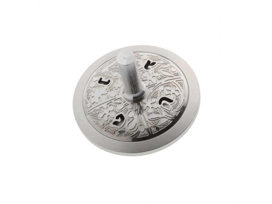 Lev Shneiderman White Circle Aluminum Hanukkah Dreidel
