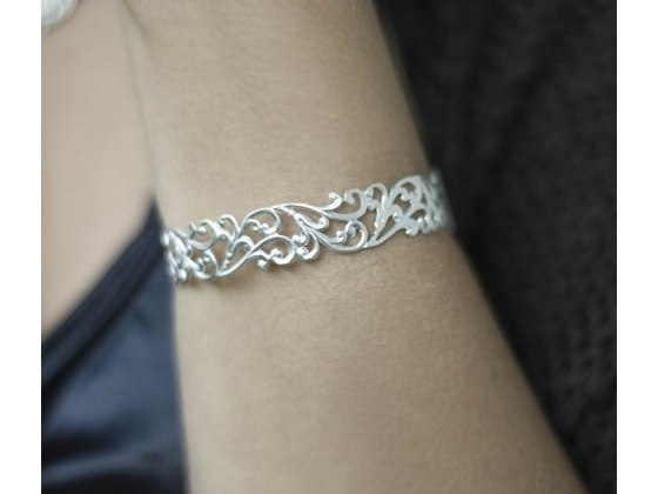 Lia Filigree Bracelet in Matte Gold  or Silver Plate - Shlomit Ofir Jewelry