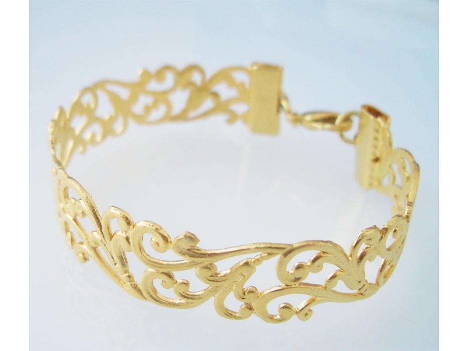 Lia Filigree Bracelet in Matte Gold Plate - Shlomit Ofir Jewelry