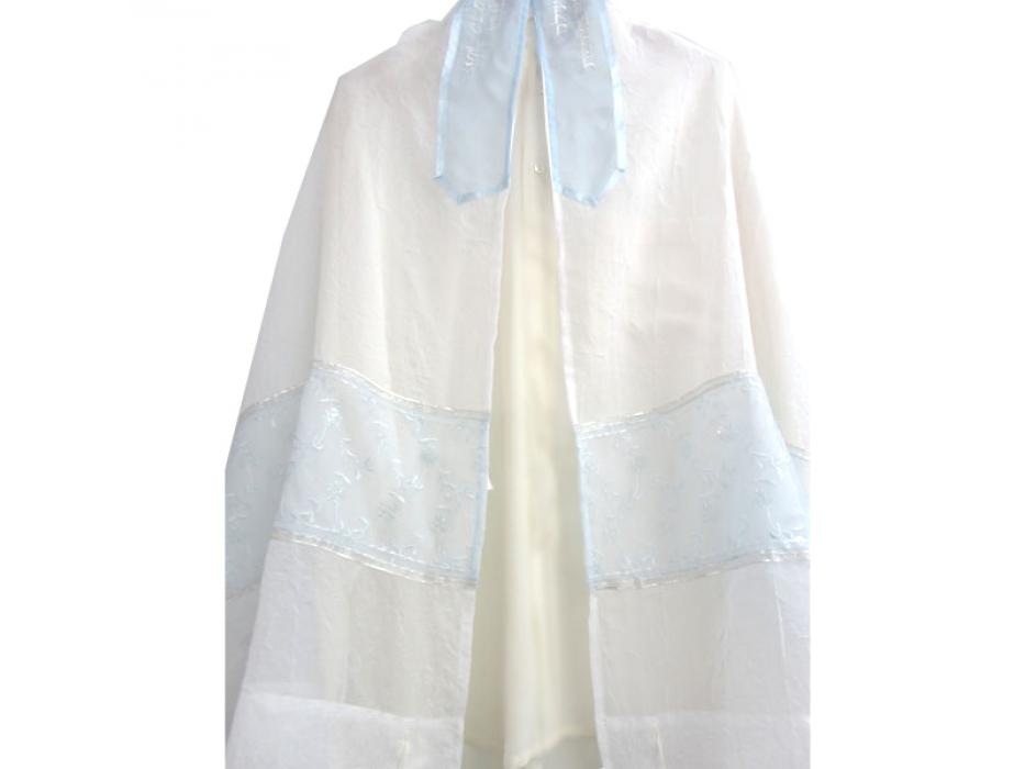 Light Blue Floral Tallit Prayer Shawl by Galilee Silks
