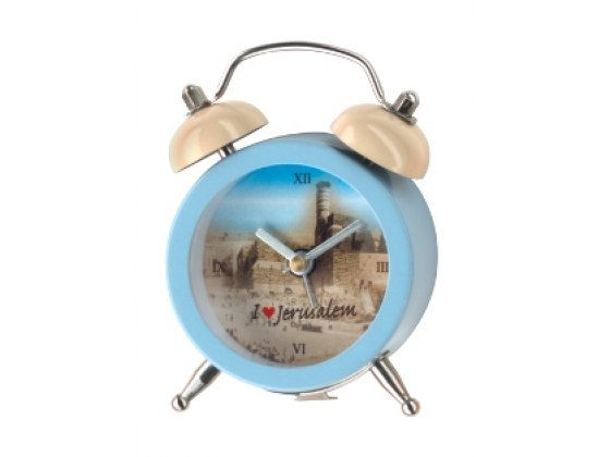 Light Blue Mini Alarm Clock with Old City of Jerusalem
