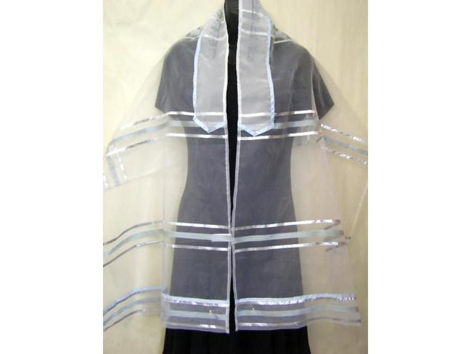 Light Blue Stripes Organza, Tallit Prayer Shawl for Women