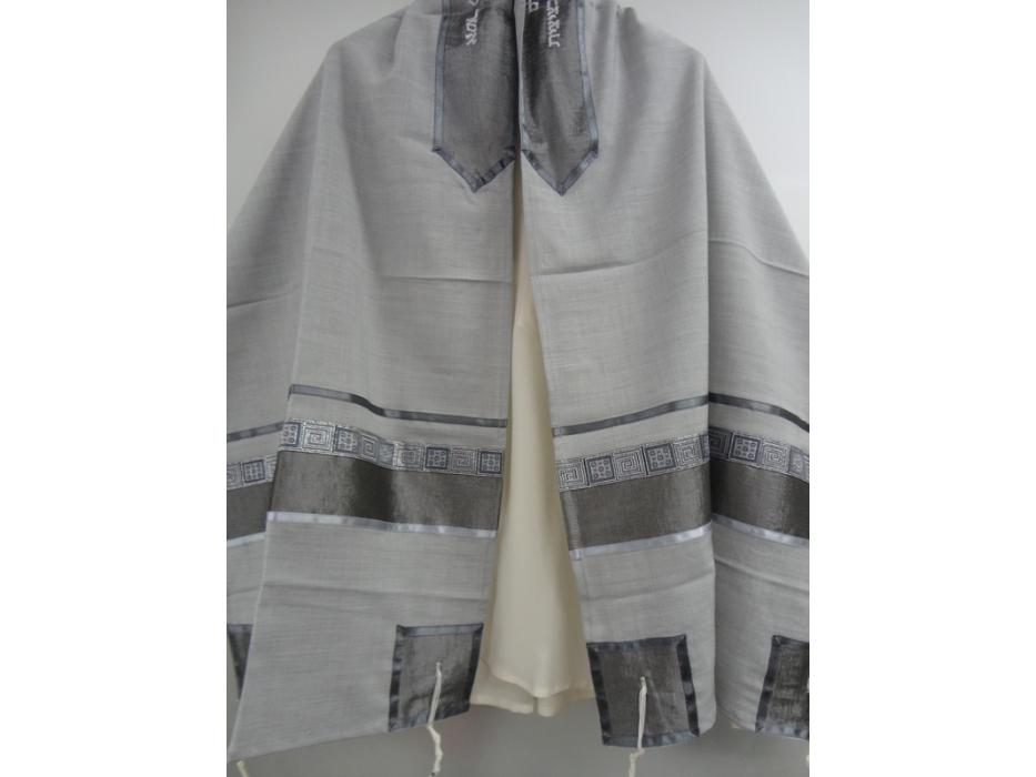 Light Grey Viscosa Tallit Prayer Shawl