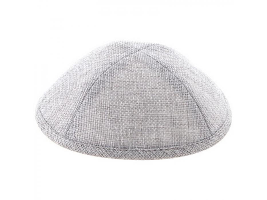 Linen Grey Kippah with Pin Spot