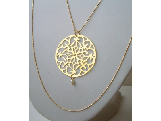 Long Double Element Necklace - Shlomit Ofir Jewelry