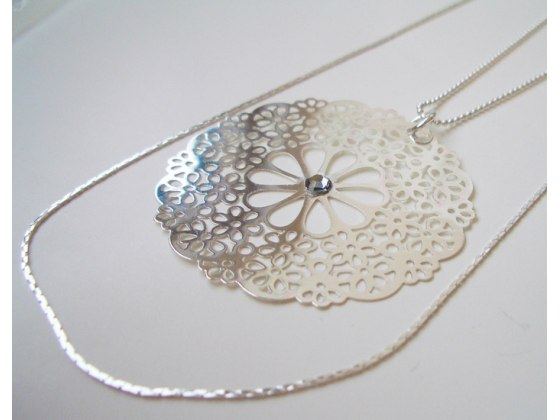 Long Silver Plated Ornament Necklace - Shlomit Ofir Jewelry
