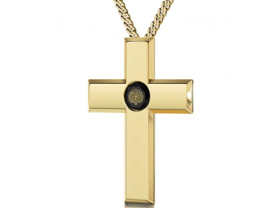 Gold Plated Cross - Black Jet
