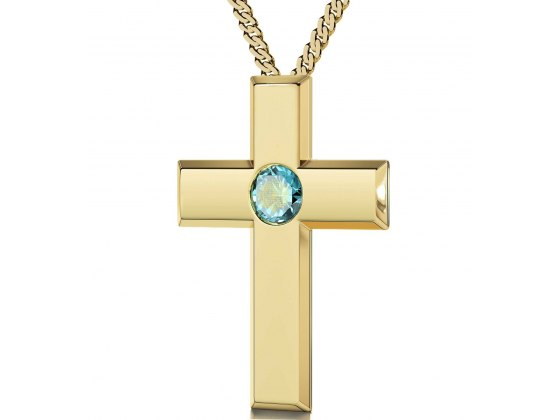 Gold Plated Cross - Light Blue Aqua
