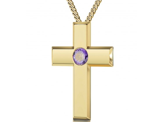 Gold Plated Cross - Violet Light Amethyst