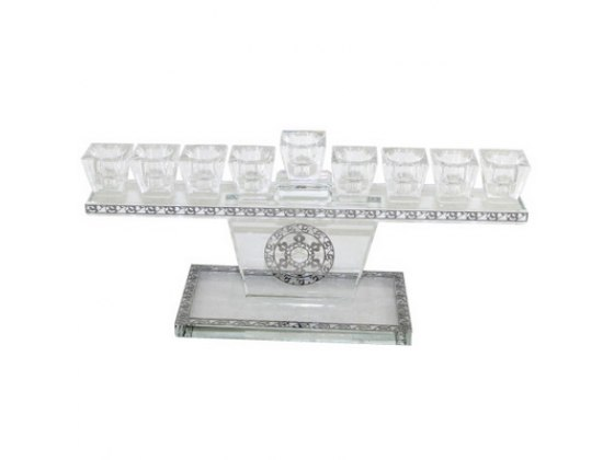 Low Set Crystal Hanukkah Menorah with Metal Cutout Details