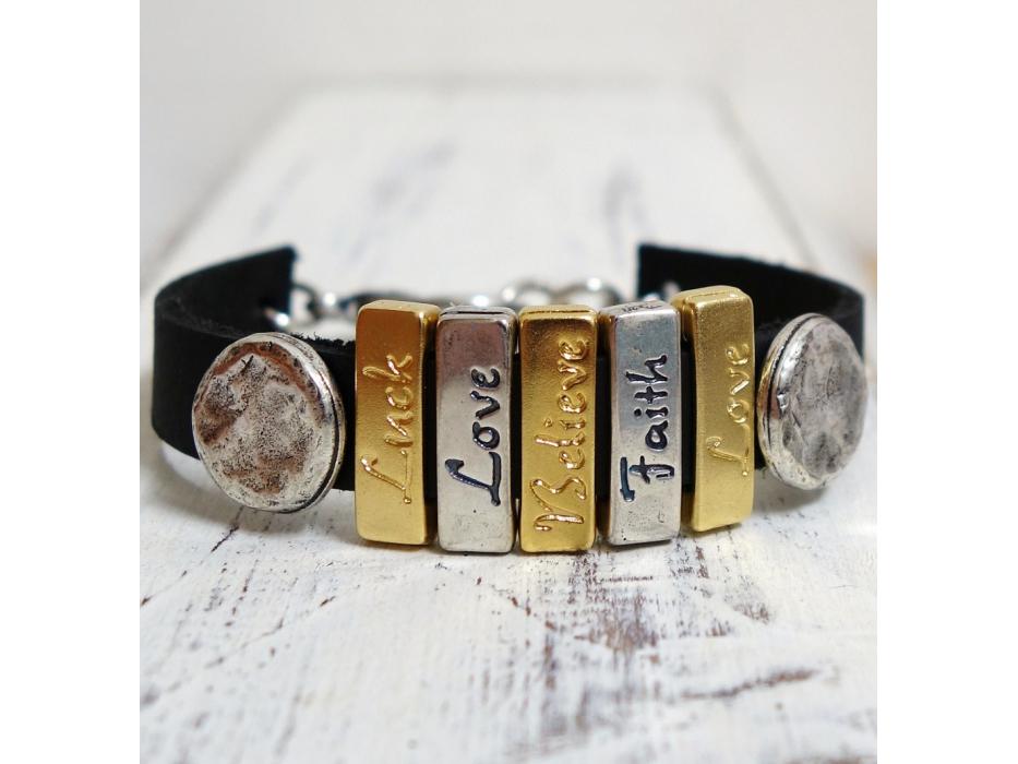 Luck Love Believe Faith Leather Bracelet