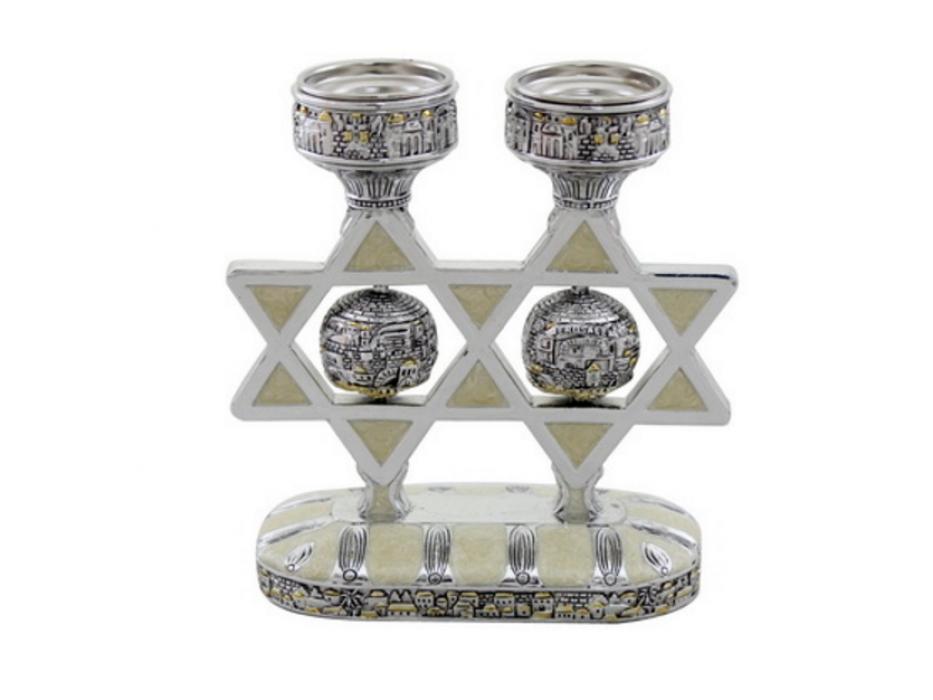 Magen David Candlesticks with Enamel and Jerusalem of Gold