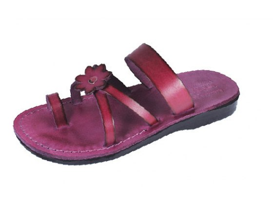 Magenta Flower Toe Strap Handmade Leather Sandals