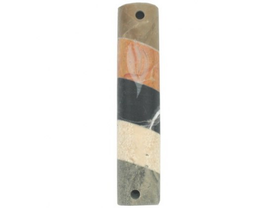 Marble Mezuzah Case with Diagonal Colored Stripes and Shin