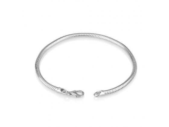 Marina Jewelry Sterling Silver Snake Chain Charm Bracelet With Classic Clasp