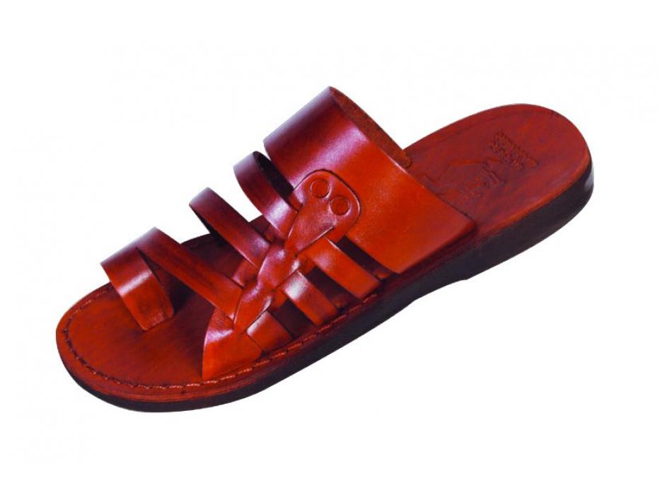 Multi-band Slip-on Leather Sandals - Edom