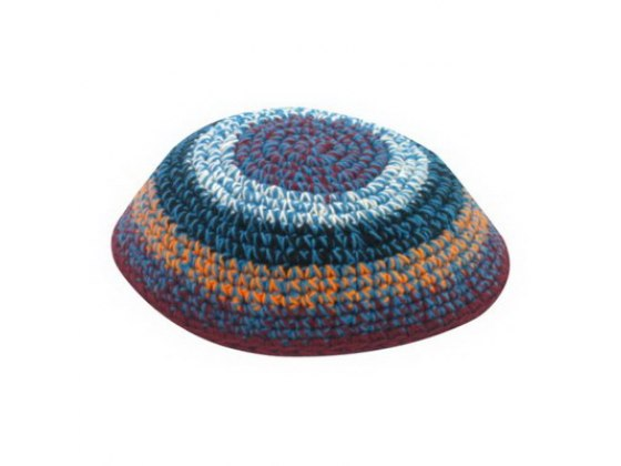 Multicolored Spots and Blue Stripes Knitted Kippah