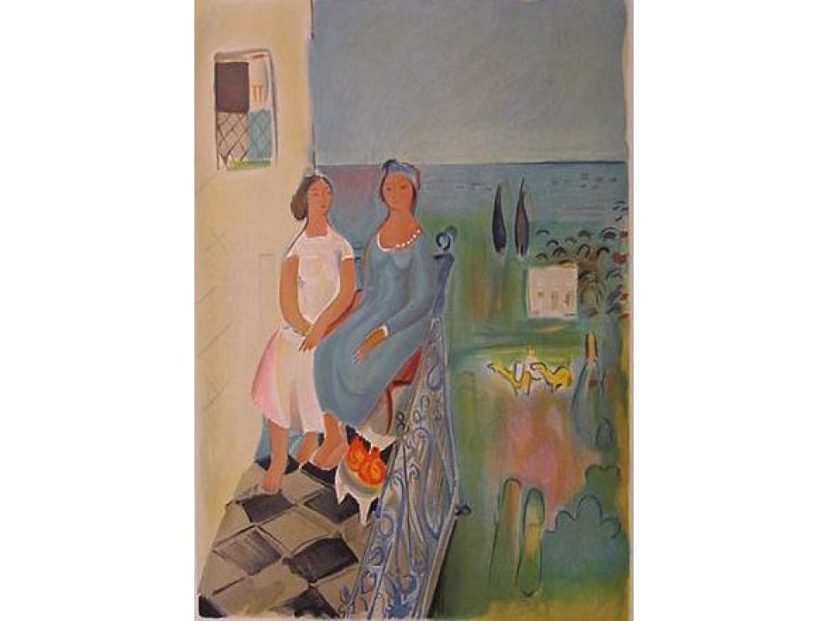 Nahum Gutman - Two girls on Balcony